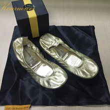 Free shipping ! Real leather Foldable ballerina shoes after party wedding  favor slippers(China) be970b648c7e