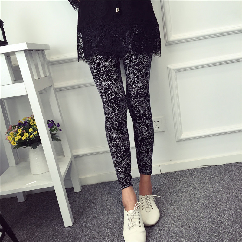 BIVIGAOS Spring Summer Womens Fashion Black Milk Thin Stretch leggings Colored Stars Graffiti Slim Skinny Leggings Pants Female 65