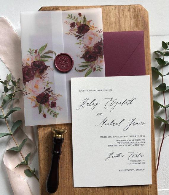 Burgunday المائية الأزهار الرق الزفاف دعوة مع مغلف CA0957-في بطاقات ودعوات من المنزل والحديقة على  مجموعة 1
