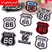 VIPOINT embroidery route 66 patches emblem badges applique for clothing YX-210
