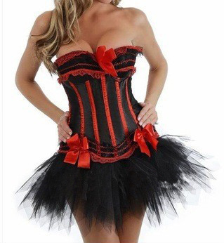 MOONIGHT sexy Black Red satin corset top+G-string+Black mini skirt dance wear show gilr S-2XL