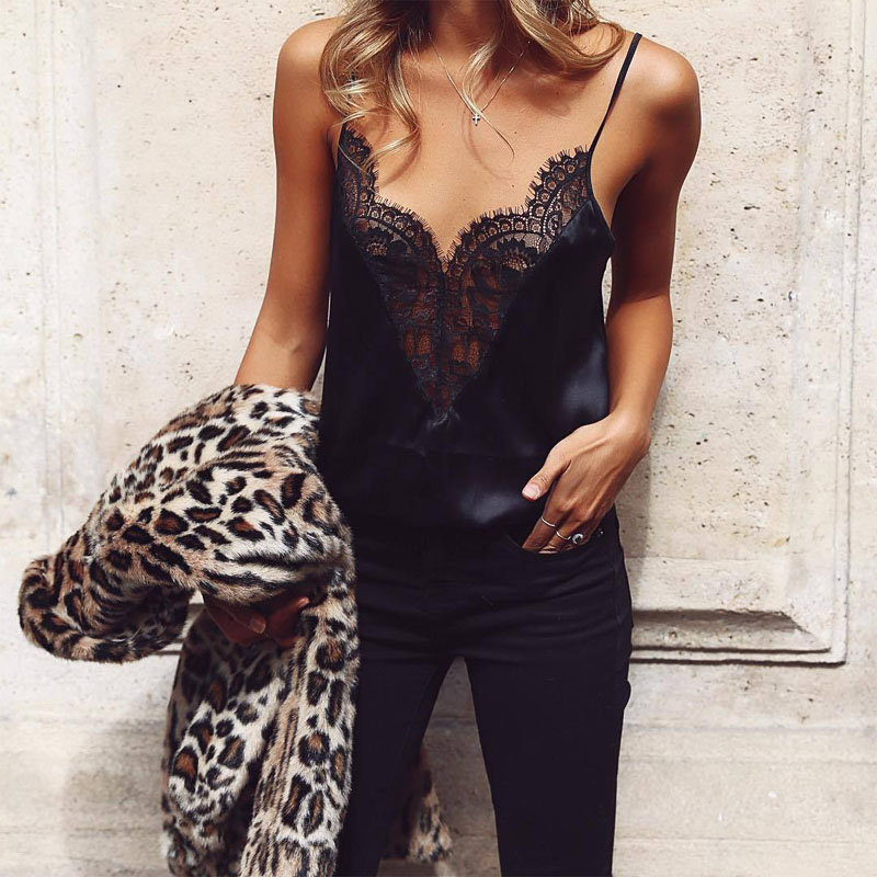 Women Vest Ladies Summer Lace Strap Off-shoulder Blouses 2019 Women Black Sleeveless   Tank     Tops   Casual Blouses   Tops