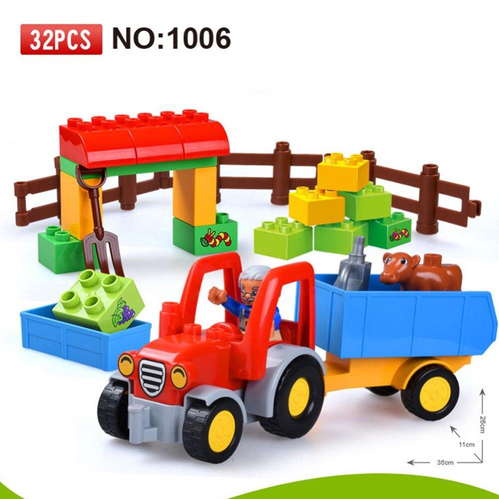 Legoingly gran tamaño tractor montado en la granja Diy bloques de construcción figuras accesorios juguetes para niños Compatible con Duplos wy30 Duploe Tráfico de grandes bloques de construcción de bricolaje clásico pieza tamaño grande juguete accesorios compatibles legoe fuego camión carretilla elevadora