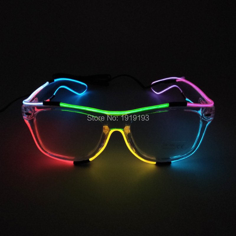 Masquerade Decor Led Strip Neon Diy Fluorescent Glasses Colorful Rave Clothing Accessory Light Up Night Party Eyeglasses by DC3V