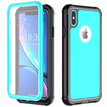 For iPhone Xs Max Full-Body Rugged with Built-in Screen Protector Cover Thin Clear Bumper Case for 5.8 / 6.5
