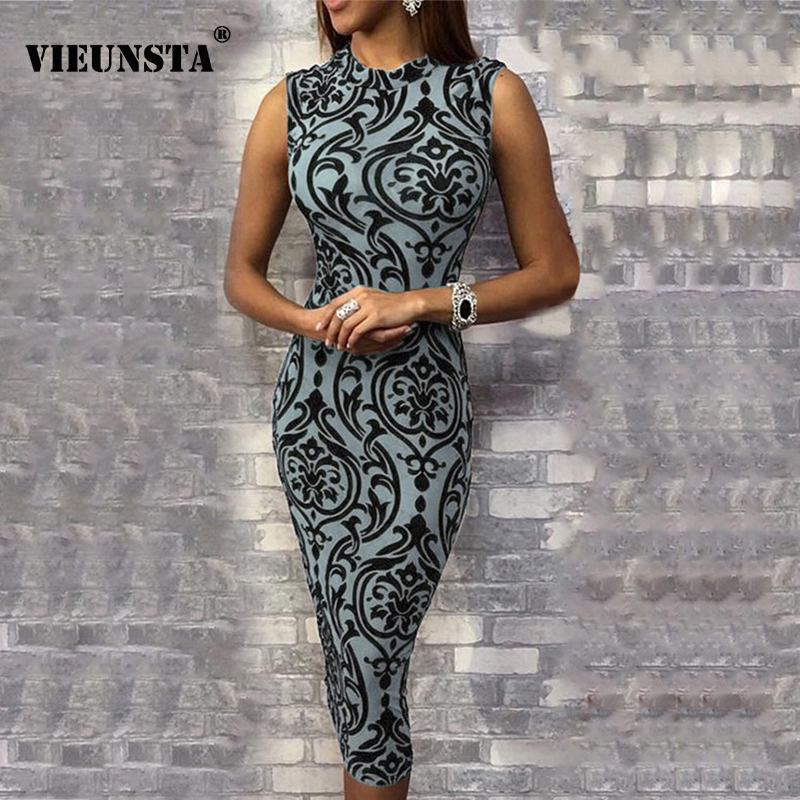 VIEUNSTA 2019 Vintage Floral Print O Neck Women Dress Summer Sleeveless Bodycon Sexy Dress Elegant Package Hip Midi Pencil Dress image