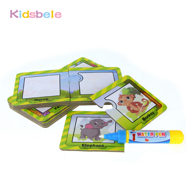 US $6.98 46% OFF|16PCS Painting Card Drawing Toys Magic Water Pen Kids  Learning Toys For Children Doodle Coloring Board For Kids Puzzle Card-in ...