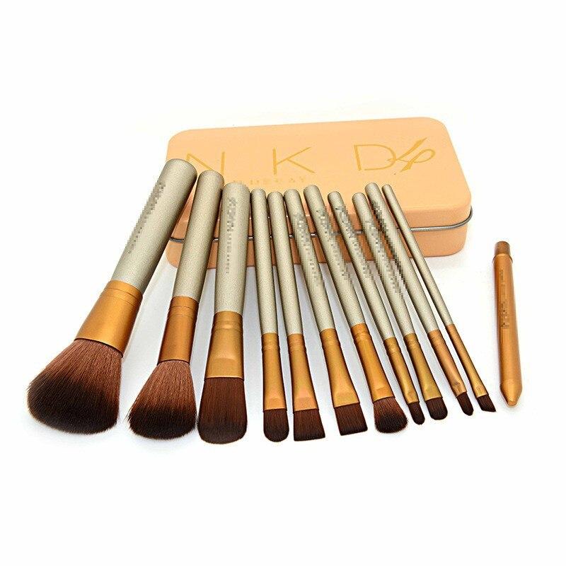 12 pçs/set Fundação Sombra Em Pó Escovas Lábio Cosméticos Compõem Pincéis de Maquiagem Maquiagem Beleza Ferramentas de Maquiagem Profissional Com Caixa