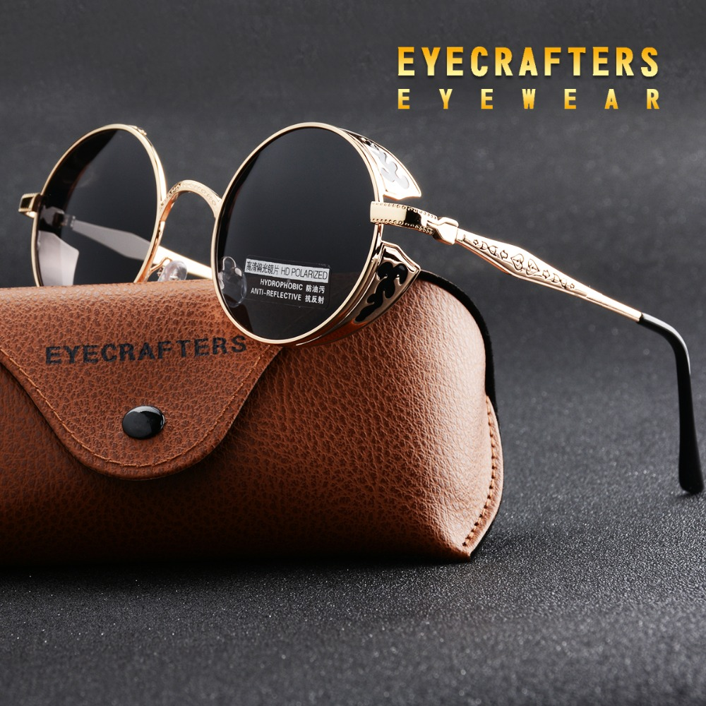 Zlaté polarizované gotické brýle Steampunkové povlaky Zrcadlené kulaté kruhy Sluneční brýle Retro Vintage Gafas Masculino Black 371