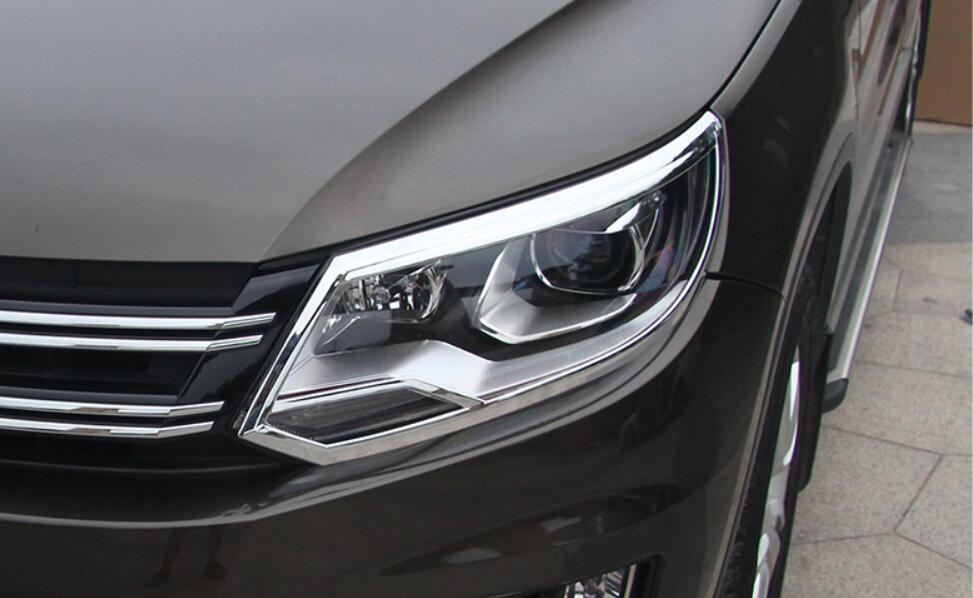 JINGHANG ABS Chrome phare avant de voiture + garniture de couvercle de feu arrière pour Vw Volkswagen Tiguan 2010-2016