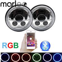 Marloo Chrome 7inch LED RGB Headlight 7 Round RGB Angel Eye Halo Ring Bluetooth Controlled For