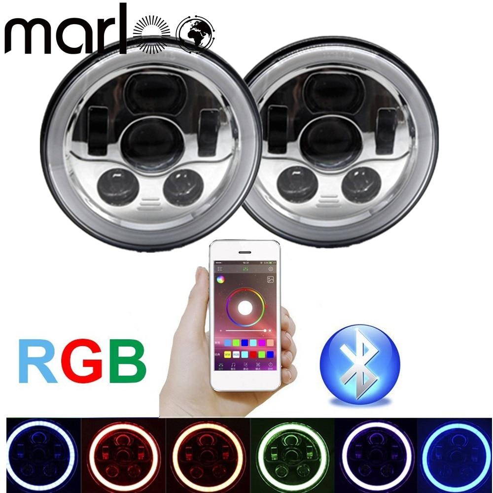 Marloo Chrome 7inch LED RGB Headlight 7 Round RGB Angel Eye Halo Ring Bluetooth Controlled for Jeep Wrangler JK LJ CJ TJ Hummer marloo pair 7 led headlight for jeep wrangler jk headlamp with halo angel eye