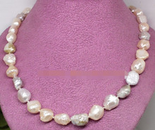 "ddh003806 Unique real natural pink lilac baroque little dot pearl gem necklace 17"" fashion(China)"