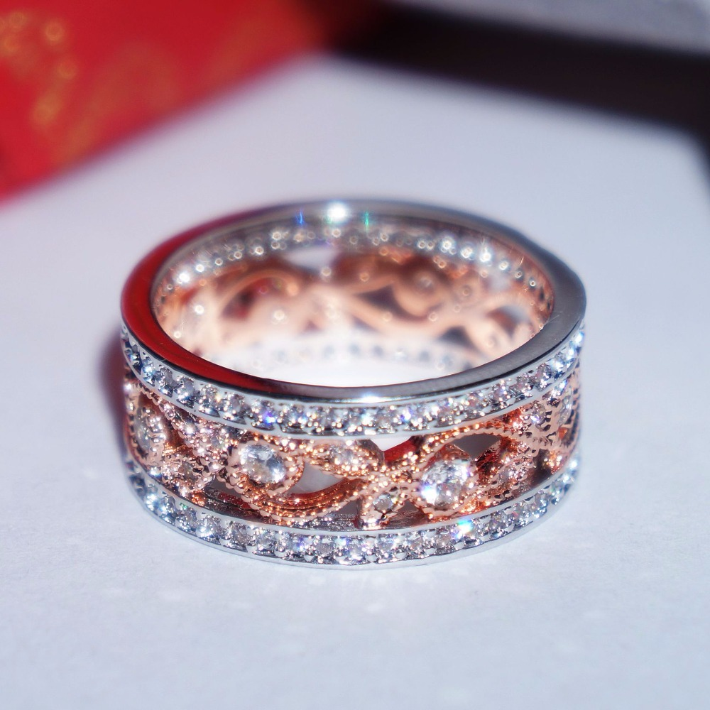 Hot Sale rose gold and Silver color Square Vintage Fascination, Clear CZ Big Ring For Women Luxury Fashion flower Jewelry