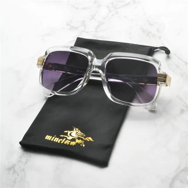 MINCL 2019 new hot Women Square Transparent Sunglasses Classic Brand Designer Brown Lens black Frame Fashion Eyewear NX