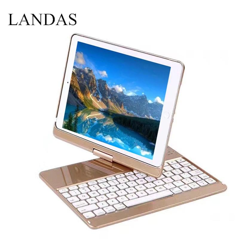 Landas For iPad 9.7 Keyboard 2018 Bluetooth Wireless Keyboard Backlit 360 Rotation Luxury Keyboards For iPad Air Case 9.7 Inch