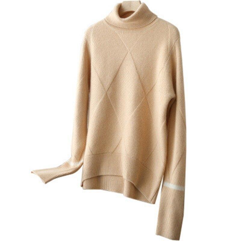 100% козья кашемир водолазка вязать для женщин модные однотонные Свободный пуловер свитер красный 2 цвета один и более размеры