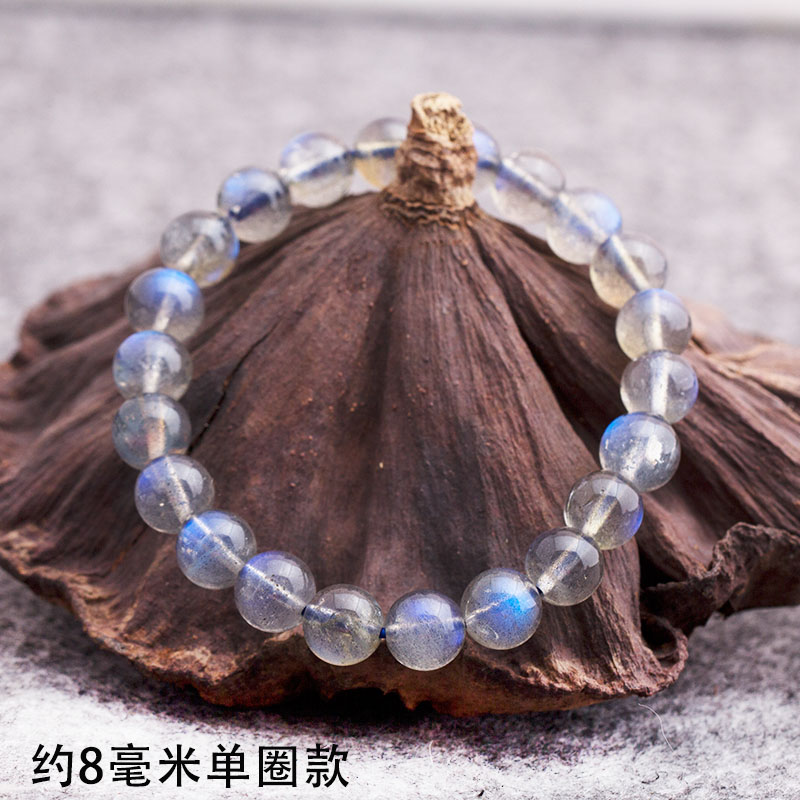 Ash Moonstone Bracelet Icy Blue Moonstone Labrador Single Bracelet Crystal Fashion Jewelry