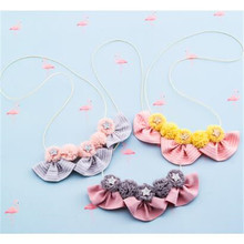 Korea Handmade Cute Lace Flower Star Fabric Bowknot Children Necklace For Girls Kids Apparel Accessories-HZPRCGNL035F