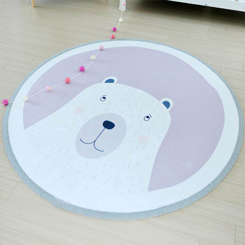 101CM Kids Play Game Mats Round Animal Carpet Rugs Mat Cotton Crawling Blanket Floor Carpet Toys Room Decoration INS Baby Gifts