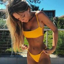 2019 New Sexy Women Padded Bra Bikini Set Strap Sleeveless Swimsuit Bandage Ladies Push-up Bikini Beachwear Triangle Swimwear