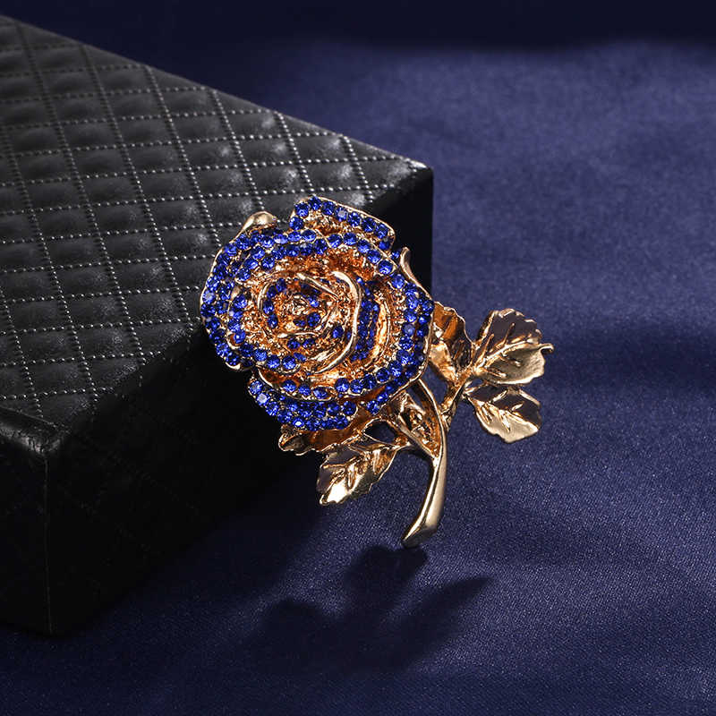 Weimanjingdian Baru Merah atau Biru Kristal Berlian Imitasi Mawar Bunga Bros Pin untuk Wanita