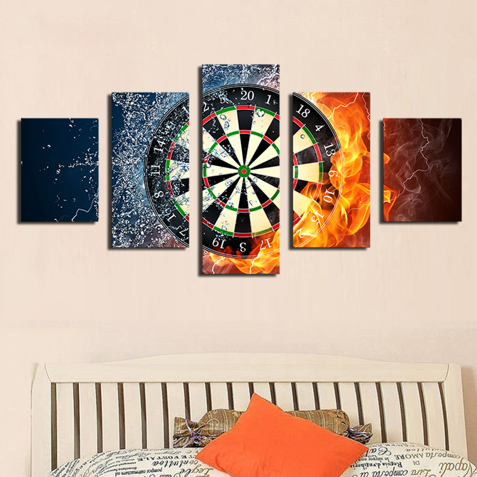 2016 Real 5 Piece Darts Wheel Target Fire Water Home Wall Decor Picture Print On Canvas Painting Set of Each Unframed