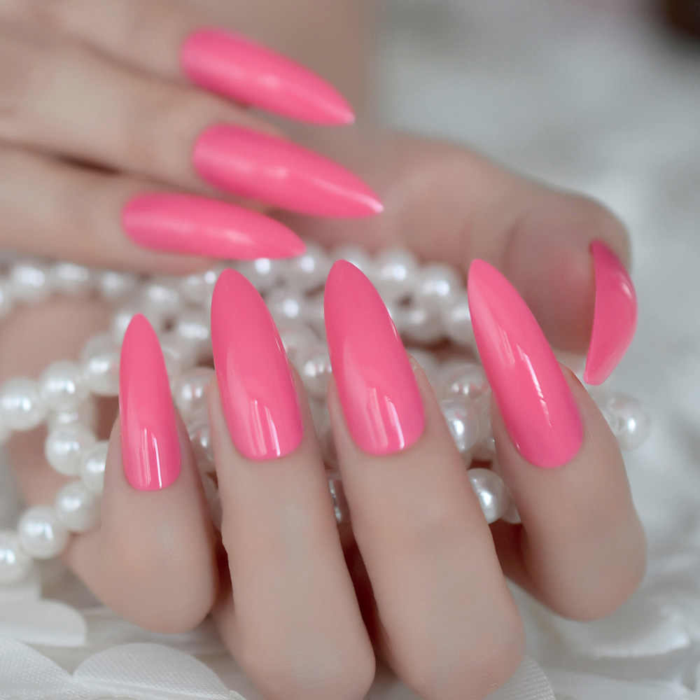 Fluorescent Pink Acrylic Nails