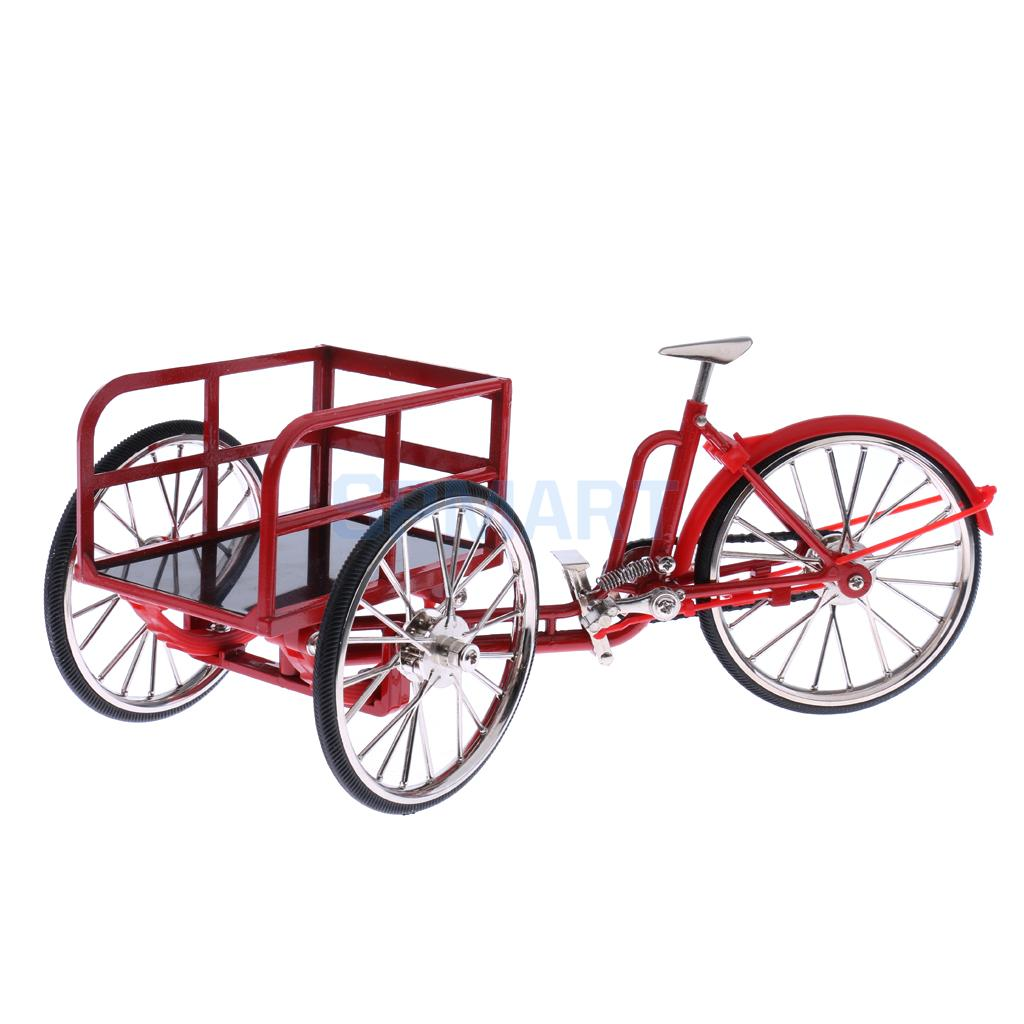 1:10 Scale Dollhouse Miniature Red Metal Diecast Transport Bike Tricycle Model Hobby Collection Gifts