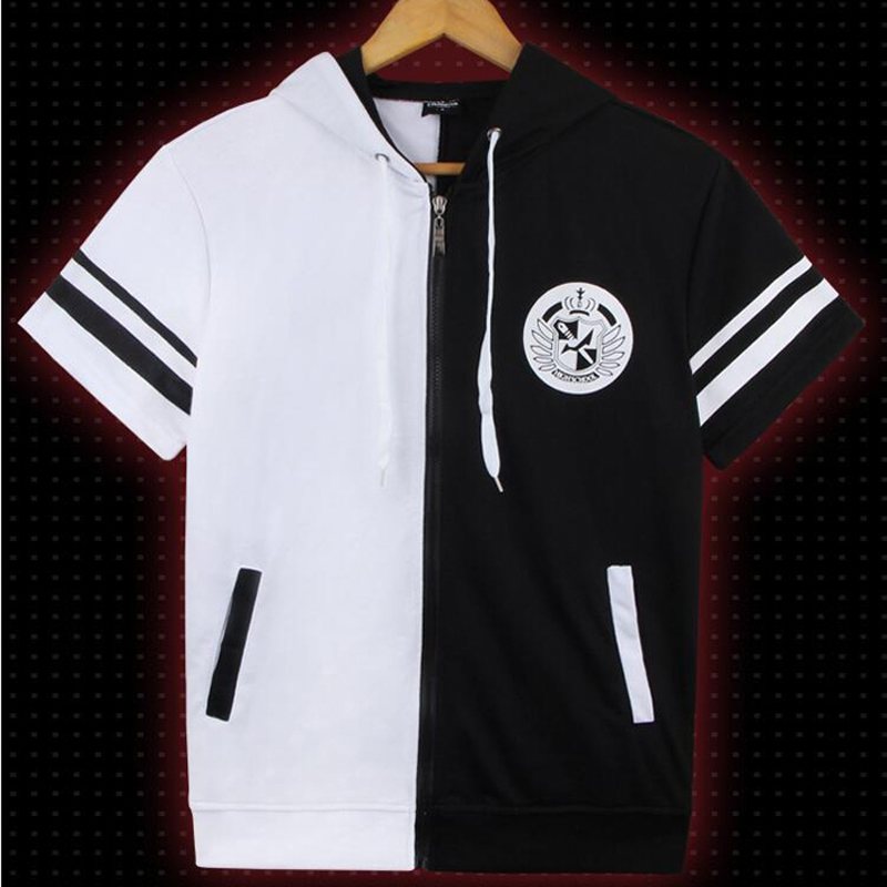 Danganronpa Monokuma Short Sleeve Hooded T-Shirt Sweatshirt Cosplay Costume Dangan Ronpa Men Women Hoodie Casual Tees