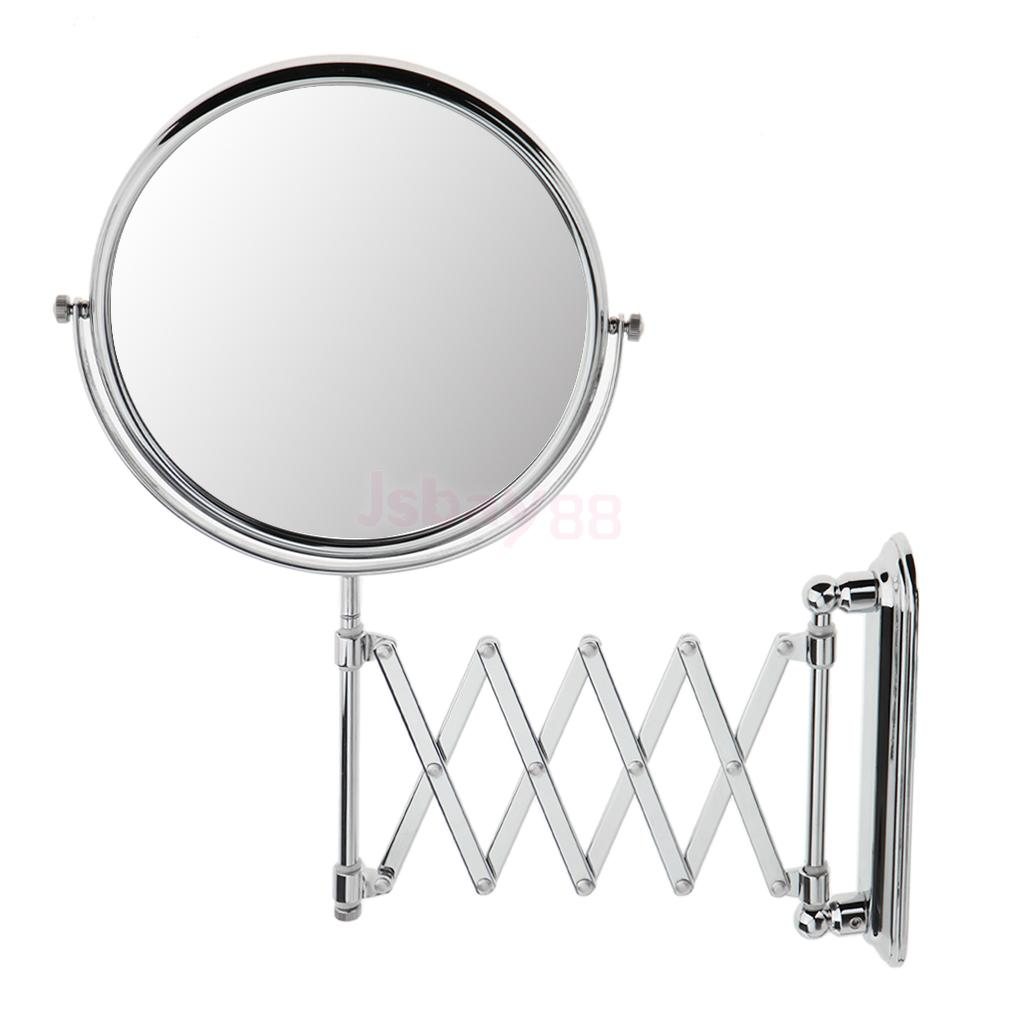 8'' Portable Stainless Steel Two-Sided Swivel Bathroom Makeup Shaving Mirror 3X Magnifying Wall Mounted Comestic Mirror