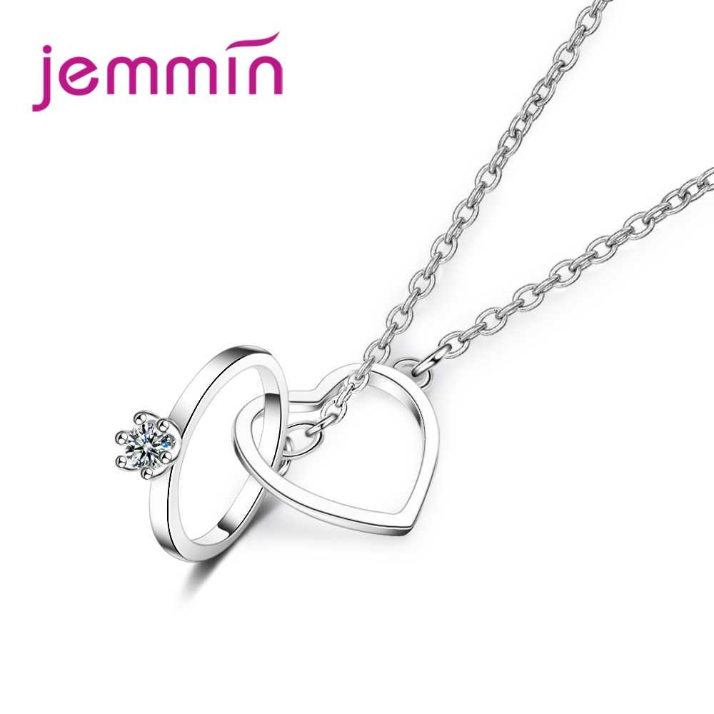 Free Shipping Women Fashion Wedding Engagement Party Necklace Heart Pendant 925 Sterling Silver Party Jewlery Top Sale