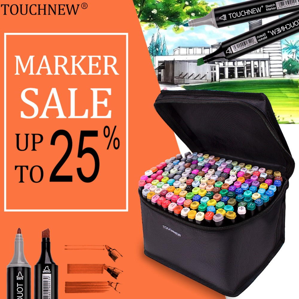 TOUCHNEW Permanent Markers Alcohol Ink Markers Brush Dual Tips Professional Drawing Marker Set Art Design 30/40/60/80/168 Colors 6