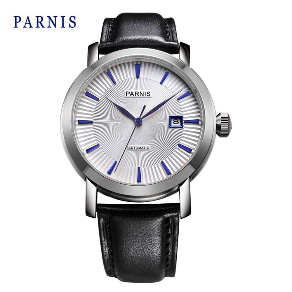 Parnis 42mm White Dail with Dark Bule Markds Business Automatic Men s font b Watch b