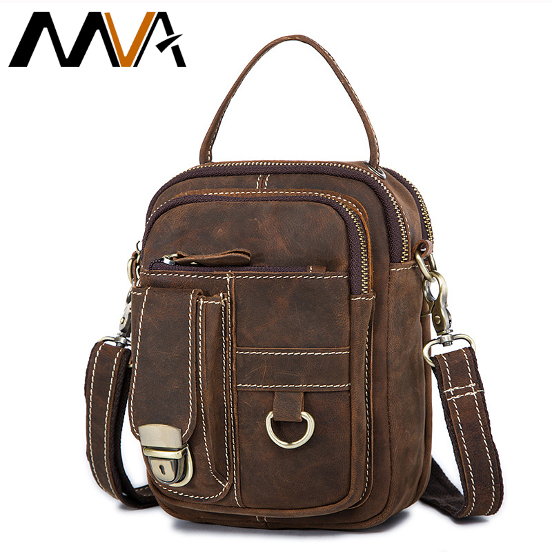 MVA Lelaki Messenger Bags Crazy Horse Genuine Leather Lelaki Bag Shoulder Crossbody Bags Small Male Waist Bag Leather Handbags 1171