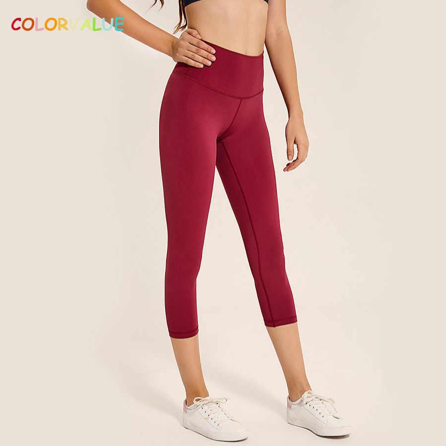 896e0f0317f9e Colorvalue 4-way Stretchy Sport Yoga Capri Pants Women Squatproof High Waist  Running Gym Cropped