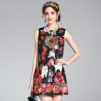 Fowice High Quality Flowers And Dogs Print Sequined Vintage Straight Dress 2017 Summer Sleeveless Above Knee