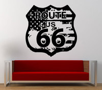 New arrival Route 66 Road Sign United States Flag Vintage Wall Graphic Decal Sticker Vinyl Mural Leaving Bedroom Room Home Decor