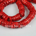 "1string(15"") 74-887 red coral heishi beads 8-12mm loose coral flat round beads diy semi-precious stone beads"