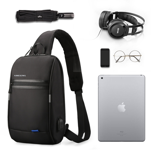 Kingsons Men Chest Bag  New Anti-thief Crossbody Bag Water Repellent Men Shoulder Bags 9.7 inch Ipad Fashion Bags