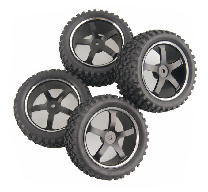 все цены на  4pcs Buggy tires OFF Road tyres with Aluminium alloy metal wheels hub fit for 1/10 HSP 94106/94166/94107 Kyosho RC Car model  онлайн