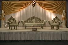 3 * 6m White and Gold Silk Wedding Backdrop Wedding Curtain Backdrop Wedding Drape
