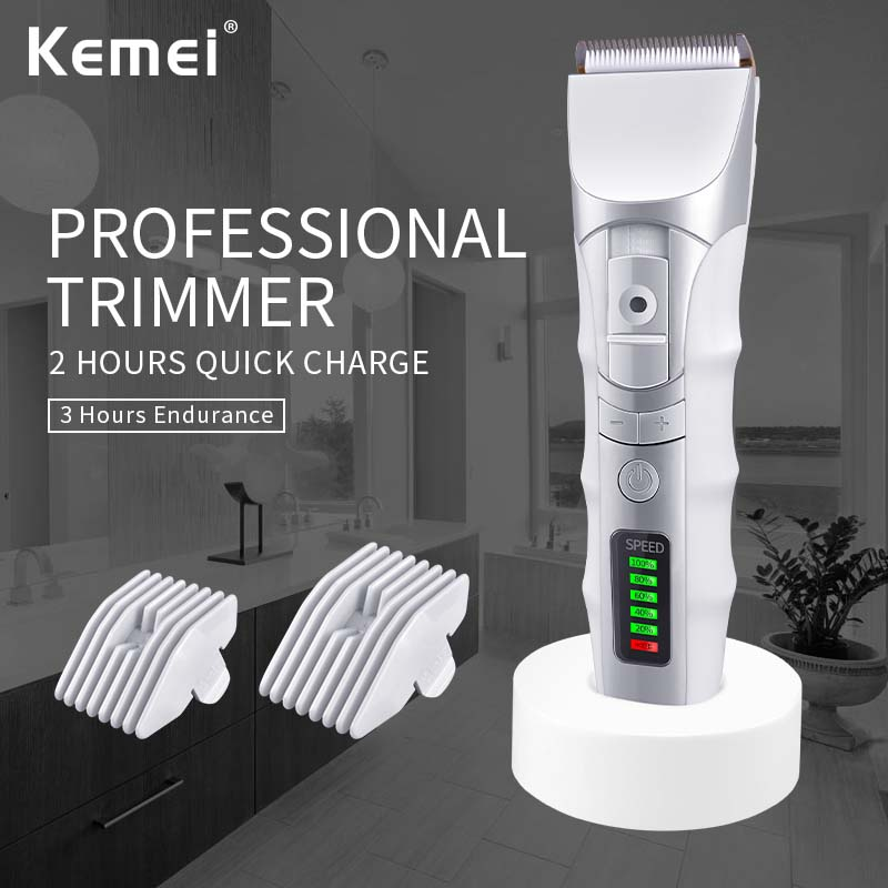 Kemei848 LED Display Li-ion Battery Titanium Cutter Head  Hair Clipper Electric Rechargeable Hair Trimmer With Charge Stand kemei838 intelligent lcd display li ion battery rechargeable hair clipper speed control hair trimmer with charge stand 110 240v