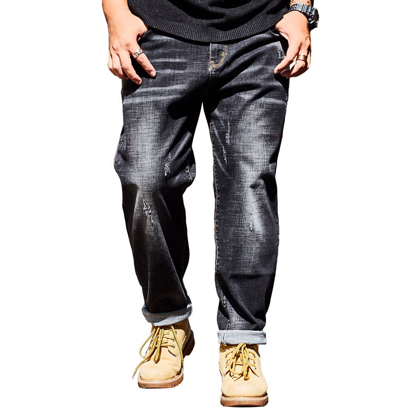 2018 Brand Large Size 40 42 44 46 With Cowboy Boots Jeans Men's Simple Stretch Loose Washed Large Pocket Straight Trousers