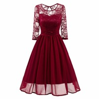 Women's Retro Half Sleeve Floral Lace Mesh Ruched Slim Sexy Evening Party Dress Chiffon Swing Pleated Dresses
