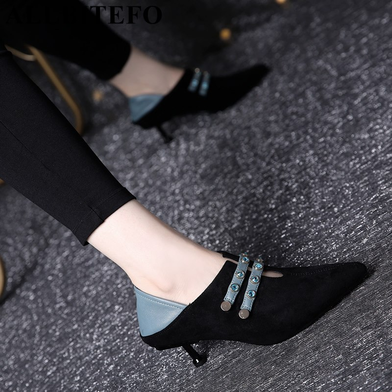 ALLBITEFO blue rhinestone design fashion sexy women high heel shoes pointed toe girls party shoes spring women pumps high heels