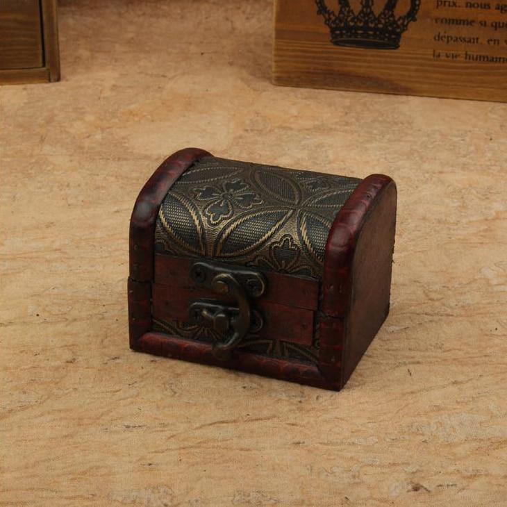 Zakka Retro creative desk Vintage mini Jewelry Organizer Storage Container Decorative Wooden Beauty Boxes holder 8x6.5x6cm