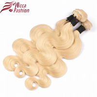 Wicca Fashion Brazilian Body Wave Non Remy Hair Weft 613 Blonde Hair 10inch To 28inch Human