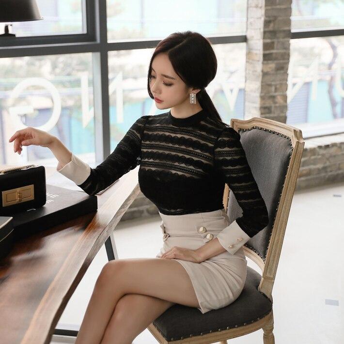Coréen Crayon 2018 Blanc Robes Color cou Pour Printemps D'o Noir Cassé The Picture Dentelle Robe Moulante Pacthwork Vêtements Femmes Les D'été Mini Été CsrQthdx