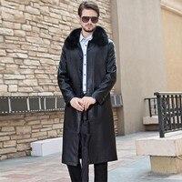 2018 новые зимние Для мужчин с длинным меховым воротником кожаная куртка Для мужчин s Бизнес Повседневная однобортная ветровка Для мужчин Мод